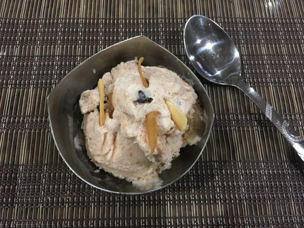Chikoo Ice Cream with Cinnamon Rose MintChip